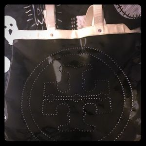 Large patent leather black/cream Tory Burch  bag